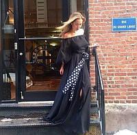 Длинное шифоновое платье в пол с широкими рукавами