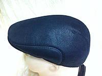 Мужская кепка чёрная из натур кожи утеплённая мехом 57