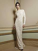 Приталенное гипюровое платье в пол с длинным рукавом