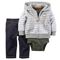 """Комплект на мальчика(кофта,штаны джинсовые,бодик) 3в1 """"Полосатик"""" 9мес-18мес"""