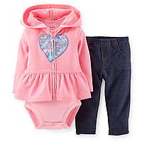 """Детский Комплект одежды для девочек с легинсами,кофта с капюшоном,бодик""""Цветное сердечко""""18мес,78-83см"""