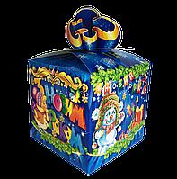 """Новогодняя Упаковка 13х13 см """"Бант синий"""" для сладостей до 700г"""