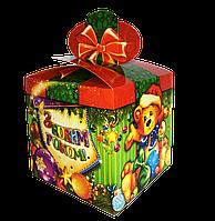"""Новогодняя Упаковка 13х13 см """"Бант Бурый Мишка"""" (буре ведмежа) для сладостей до 700г"""