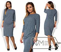 Женское платье по колено с принтом 48-54
