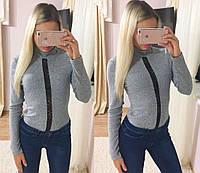 Женское модное боди с вставкой французского кружева (3 цвета)