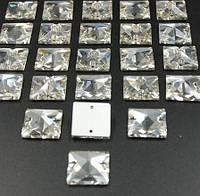 Стразы пришивные Квадрат 16 мм Crystal, стекло