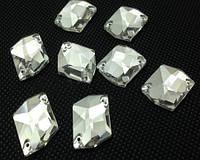 Стразы пришивные Космик (ломаный ромб) 14 х 17 мм Crystal, стекло