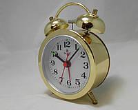 Механические настольные мини часы PACIFIC с будильником золотистые (классика жанра)