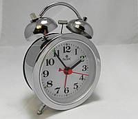 Механические настольные мини часы PACIFIC с будильником серебристые (классика жанра)