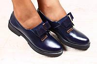 Стильные женские туфли с бантиков, кожа