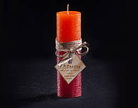Свеча оранжево-бордовая Круглая