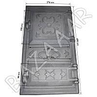 Дверца печная чугунная, двойная с орнаментом