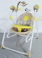 Детская электрокачель качалка c мобилем Tilly 3в1 + пульт BT-SC-0005 Yellow