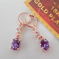 Серьги  розовое золото 18К позолота висюлька с фиолетовым цирконием
