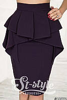 Классическая юбка с баской и завышенной талией (3 цвета) 4041
