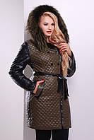 Зимняя женская куртка цвета хаки с черной отделкой