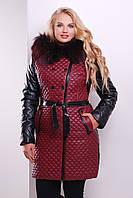 Бордовая куртка из искусственной кожи на зиму