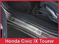 Накладки на пороги из нержавейки Honda Civic 9 IX Tourer (2014-...)