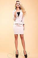 Офисный женский бежевый костюм  Терри  42-48 размеры Jadone