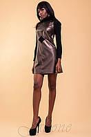 Молодежное платье-туника Юппи коричневый металлик 42-46 размеры Jadone