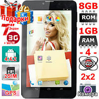 Планшет GPS Навигатор Samsung Tab 7 ОЗУ 1 Гб Rom 8 Гб 7 дюймов 4 ядра 3G 2 сим Android 4 4 3000 mAh Подарки!