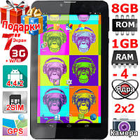 Планшет 4 ядра Samsung Tab 7 Cмартфон 2 sim 7 дюймов HD 1024 х 600 3G GPS OTG 2 сим 1 Gb 8 Gb 3000 mAh Подарки