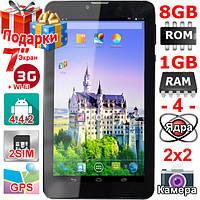 Игровой 3 G Планшет Samsung Tab 7 Ram 1 Gb Rom 8 Gb 7 HD 1024 х 600 GPS 2 sim 3000 mAh Подарки Гарантия 12 мес