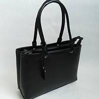 Квадратная черная сумка на два отделения 0632