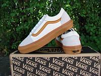 Кеды Vans женские белые с коричневой полоской
