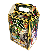 Упаковка для солодощів новорічна Будиночок Різдвяний класичний 1000-1300г (упаковка новогодняя для конфет)
