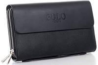Мужское фирменное портмоне Polo - барсетка Поло- клатч на руку, черная