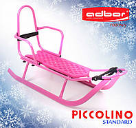 Детские санки Adbor PICCOLINO со спинкой розовые