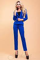 Женский офисный костюм с брюками Терри-2 электрик 42-48 размеры Jadone