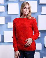 Яркий ажурный свитер с атласными лентами на спинке
