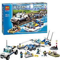 Конструктор Полицейский патруль Bela URBAN 10421, лодка, катер, авто, прицеп, 3 фигурки, 409 деталей