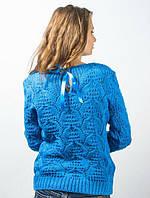 Нарядный ажурный свитер с атласными лентами на спинке