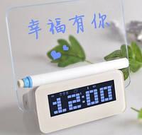 Часы с led доской для записей + маркер, 3 будильника