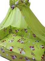 """Постельное бельё в детскую кроватку 8 элементов """"Hello Kitty"""" салатовое"""