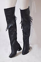 Женские зимние ботфорты европейка с бахромой на каблуке от TroisRois из натуральной турецкой кожи и меха