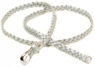 Изысканный плетеный ремень Женский кожзам H2112-3 silver, серебро, ДхШ: 100х1,8 см