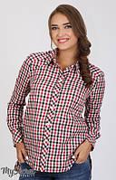 Рубашка для беременных Cardo черно-красно-белая клетка