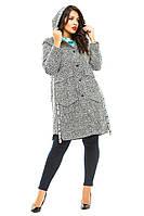 Пальто женское полубатал пуговицы капюшон