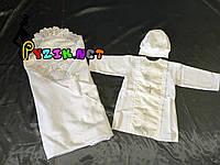 Набор для крещения (крыжма+рубашка на завязочках+чепчик с крестиком) байковый