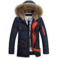 Мужская зимняя удлинённая куртка парка пуховик JEEP, синий! РАЗМЕР L-XXXL