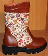 Детские сапоги зима для девочки кожаные рыжие, детские сапоги зимние обувь кожаная от производителя