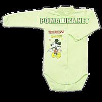 Детский боди с длинным  рукавом р. 68 с начесом ткань ФУТЕР (байка) 100% хлопок ТМ Алекс 3188 Зеленый1