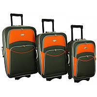 Чемодан сумка 773 набор 3 штуки серо-оранжевый