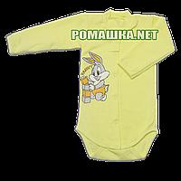 Детский боди с длинным  рукавом р. 74 с начесом ткань ФУТЕР (байка) 100% хлопок ТМ Алекс 3188 Желтый1