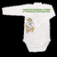 Детский боди с длинным  рукавом р. 74 с начесом ткань ФУТЕР (байка) 100% хлопок ТМ Алекс 3188 Бежевый1