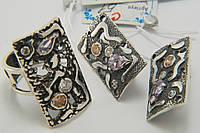 Комплект серебряных женских украшений, оригинальный дизайн